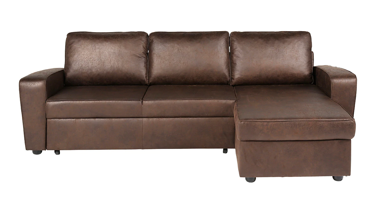 Sofá cama con chaise longue de aire retro