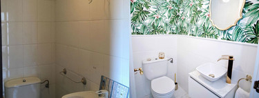 A big change (without works) and tropical airs for a small toilet that does not give up style despite the size