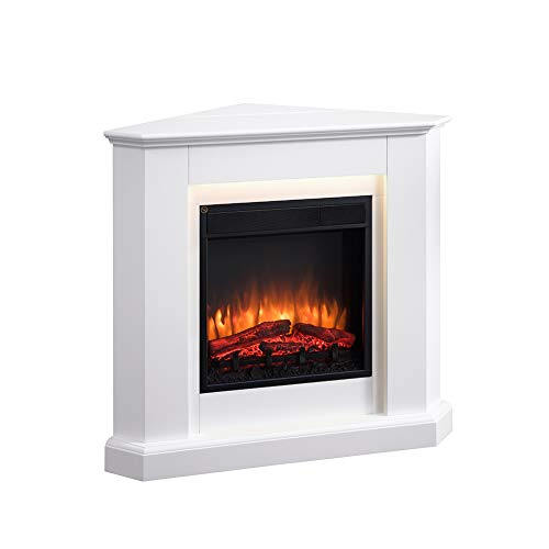 RICHEN Candela Electric Fireplace - Heated Corner Fireplace, LED Lighting, 3D Flame Effect and Remote Control - White