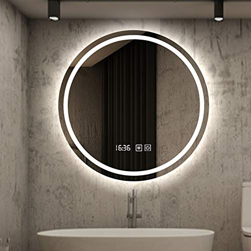 L&ED Round Backlit Mirror, Wall-Mounted LED Illuminated Bathroom Mirror, Touch Button + Fog + Time / Temperature, Modern Vanity Mirror