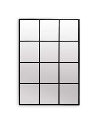 Antic by Casa Chic - Rectangular Window Shaped Wall Mirror - Solid Frame - 90x60 cm - Galvanized Metal - Black