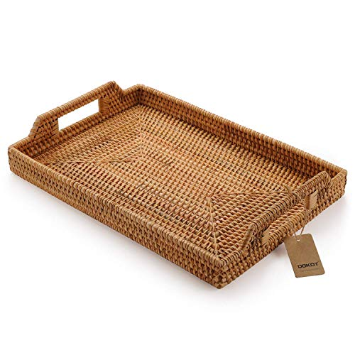 Rectangular Hand Woven Rattan Serving Tray for Food and Drinks Decorative with Handles 37x26x3.5cm Natural