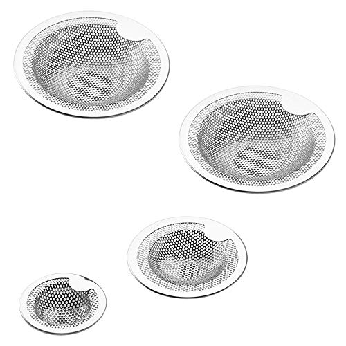 FineGood Kitchen Sink Strainer Set of 4 - Stainless Steel, Anti-Clog, Sink Screen, Silver