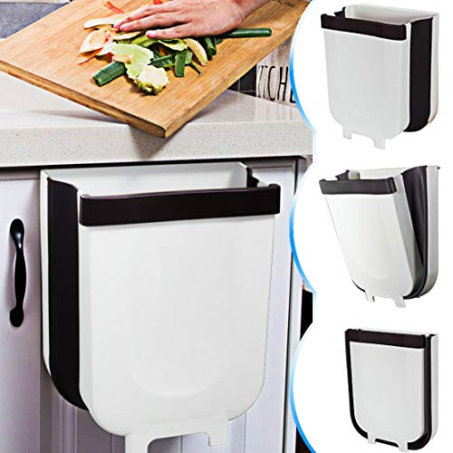TTMOW Collapsible Hanging Trash Cans for Kitchen, 9L Car (White)