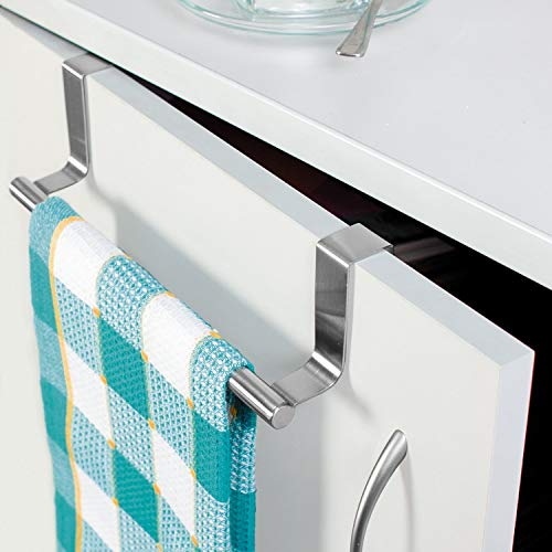 Tatkraft Horizon Door Towel Rack, Kitchen and Bathroom Cloth Hanger, Stainless Steel
