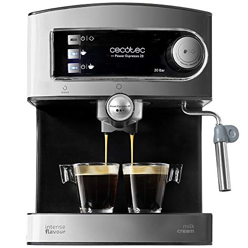 Cecotec Power Espresso 20 - Manual Express Coffee Maker, 850W, 20 Bar Pressure, 1.5L Tank, Double Outlet Arm, Steamer, Cup Warmer Surface, Stainless Steel Finishes, Black / Silver