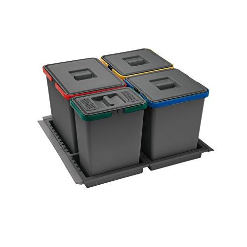 ELLETIPI Metropolis PTC28 06 050 2 F C10 PPV - Recycling Bin with drawer, Gray, 51 x 46 x 28 cm