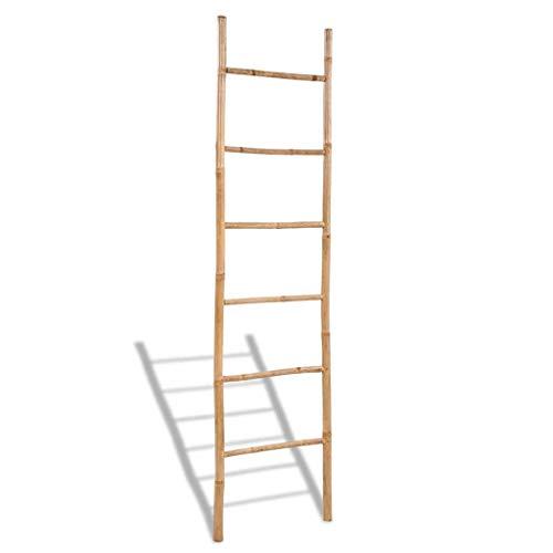 vidaXL Ladder Towel Rack 6 Steps Bamboo Towel Organizer Bathroom Toilet Design