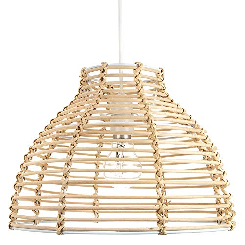 Traditional Basket Style Light Brown Wicker Wicker Ceiling Lamp Light Shade by Happy Homewares