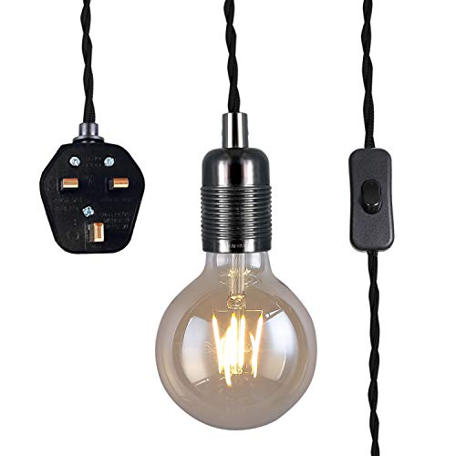 Pendant lamp with plug, vintage style, E27 lamp holder, 3500mm twisted braided cable with switch,.