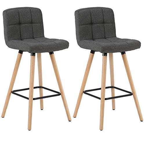 WOLTU 2X Bar Stool with Back, Wood Frame Linen Seat Furniture Kitchen High Stool for Kitchen, Bar, 2-Pack Dark Gray