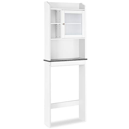 COSTWAY Wooden Toilet Shelf Bathroom Cabinet Tall Cabinet with 3 Shelves for Shower White