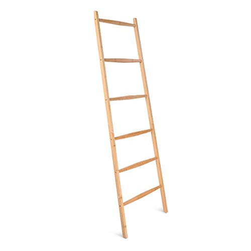Navaris Bamboo towel rack ladder - Organizer rack with 6 rungs - Towel holder to rest on the Wall - Vintage standing towel rack - 1.7 M