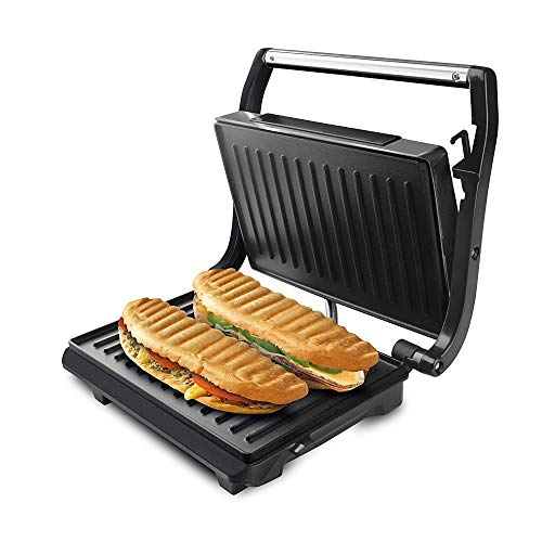 Taurus Grill & Toast - Sandwich Maker with Non-Stick Grill Plates, 700 W, Tilting Lid, Fixed Locking Hook, Grease Tray, Black