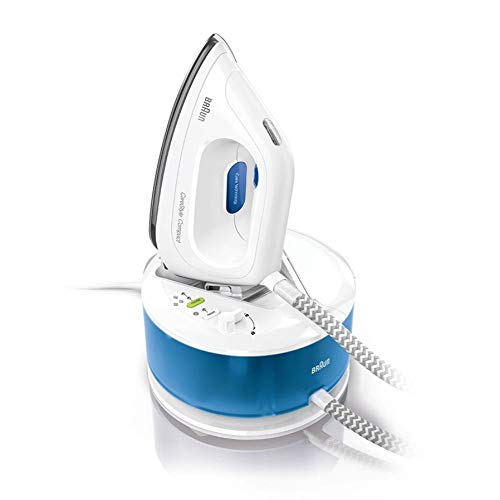 Braun Hogar CareStyle Compact IS2043 Ironing Center, 3D Eloxal Plus Sole, Constant Steam, 2200 W, 1.3 liters, White / Blue
