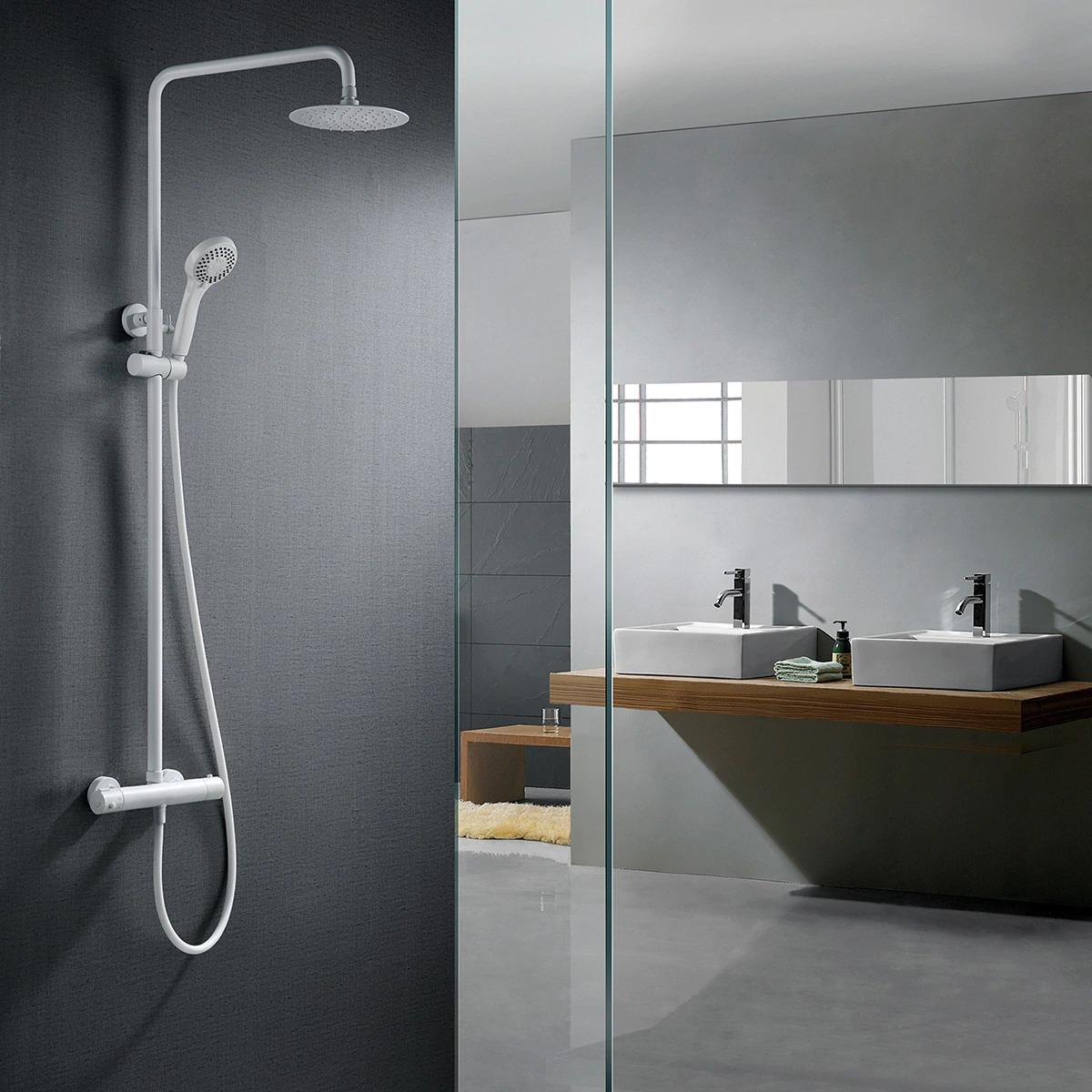 London thermostatic shower set in matt white Imex