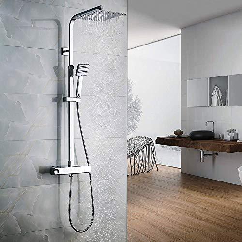 Auralum Thermostatic Shower Column Faucet Thermostatic Shower Column Hydromassage Shower Shower Set Rock Shower Head Rain 25 * 25CM