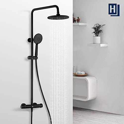HOMELODY Shower Set 40 ℃ Thermostatic Black Brass Shower Column Adjustable Height 829mm-1221mm Rain Shower 3 Types Hand Shower With Non-slip Handwheel for Bathroom