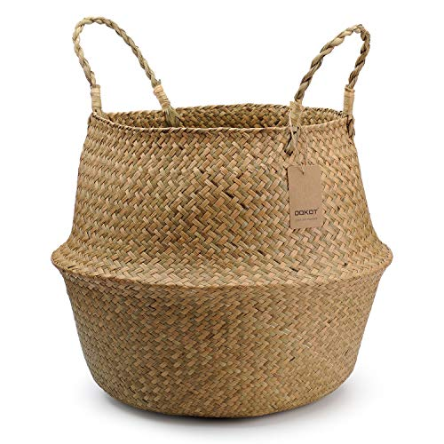 DOKOT Natural Seagrass Wicker Basketry Basket, Laundry Baskets with Handle, Folding Belly Basket Planter, Home Decoration Store Toys, Clothes, Fruit or Plants 45 x 36cm