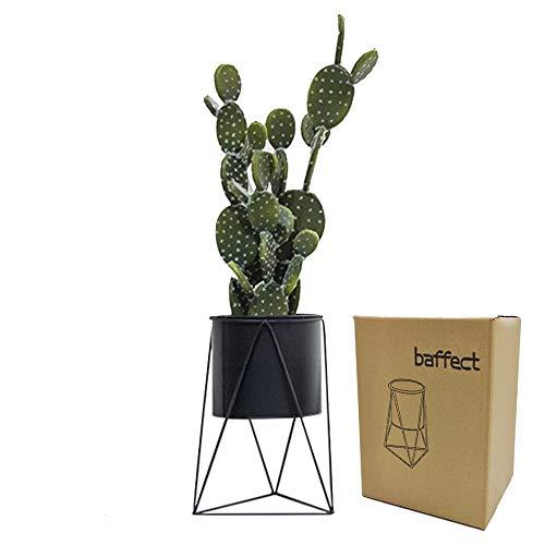 Baffect Metal Plant Holder with Plant Pot, Iron Plant Planter Plant Pot for Home Garden Table Indoor Decoration (Black)