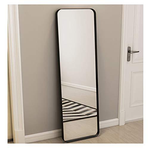 ZLDJ Full Length Mirror Sassy Modern Floor Mirror Standing Leaning Against Wall Black Metal Frame Full Length Mirror (Size: Black 45x120cm)