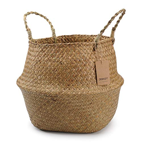 DOKOT Natural Seagrass Wicker Basketry Basket, Laundry Baskets with Handle, Folding Belly Basket Planter, Home Decoration Store Toys, Clothes, Fruit or Plants 22 x 20 cm