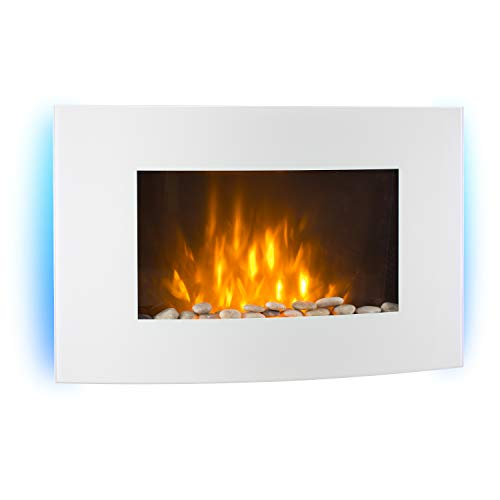 KLARSTEIN Lausanne - Horizontal Wall-Mounted Electric Fireplace, 1000 or 2000 W Performance, Electric Heater, Illusion Flames, Wall Installation, Remote, White