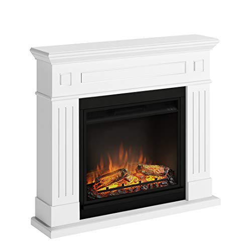 TAGU Larsen Electric Fireplace with 23 Inch Powerflame Electric Fire, 1500W, 7 Days Programmable, Digital Thermostat, Remote Control (Pure White)