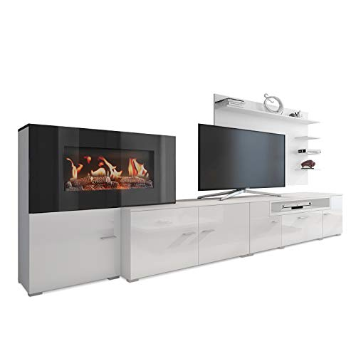SelectionHome - Living-dining room furniture with electric fireplace, Matt White and White Gloss Lacquered finish, measures: 290 x 170 x 45 cm deep