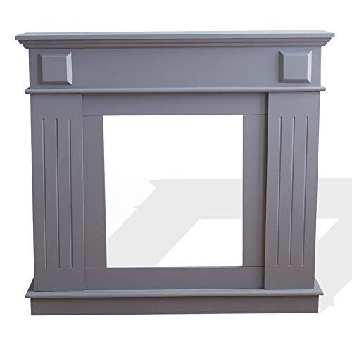 Rebecca Mobili Decorative Fireplace Frame, Fake Fireplace, Modern Style, Gray, MDF, Bedroom- Measurements: 100 x 109 x 26 cm (WxANxF) - Art. RE6053