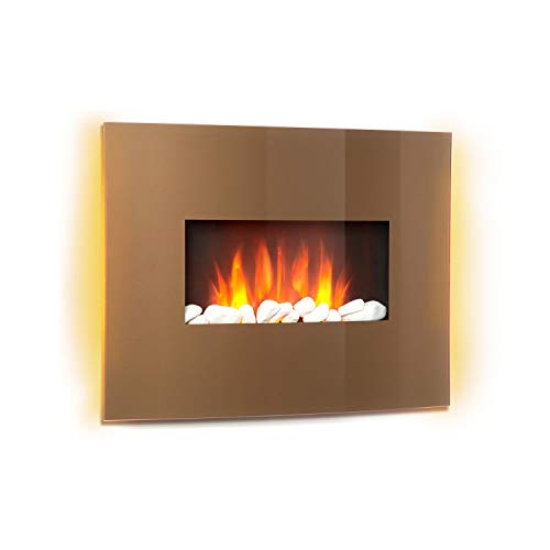 Klarstein Curved Copper L&F - Electric fireplace with heating function, Electronic fireplace, 1000 or 2000 W, Flaming effect, Curved Glass Panel, Programmable, Remote Control, Copper