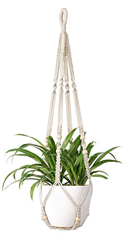 Mkouo Macrame Indoor Plant Hangers Hanging Basket Flowerpot Flowerpot Holder Cotton Rope with Beads No Tassels, 89cm