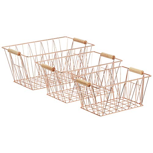 AmazonBasics Large Copper Wire Basket Set of Three