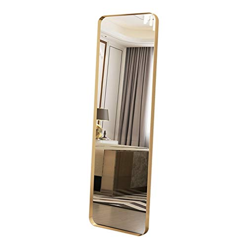 ZLDJ Full Length Mirror Sassy Modern Floor Mirror Standing Leaning Against Wall Black Metal Frame Full Length Mirror (Size: Gold 40x70cm)