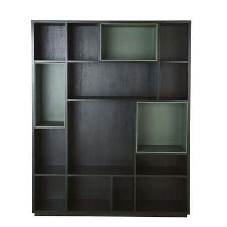 Library With 4 Removable Black And Green Lockers 1000 9 37 199215 1