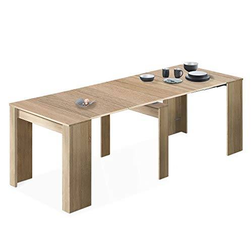 Habitdesign 004580F - Console Dining Table, Extendable Table, Table for Hall or Kitchen, Finished in Canadian Oak, Measurements: 50/235 cm (Length) x 90 cm (Width) x 78 cm (Height)