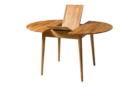 NORDICSTORY Escandi 3 Round Extendable Solid Oak Wood Dining Table, Closed 100 cm and Open 130 cm, Ideal for Kitchen and Living Room, Nordic Style Furniture Color (Natural Oak)