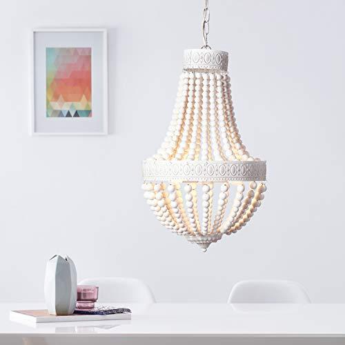 Chandelier, 3 spotlights, 3 E14 bulbs, max.  40 W, metal and wood, white