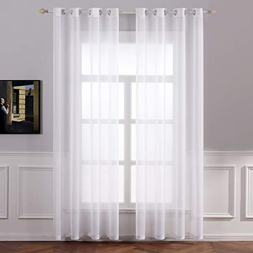 MIULEE Translucent Polyester Curtains for Modern Bedroom Eyelets Curtain Window Curtains Living Room for Living Room Bedroom Dining Room Living Room Kitchen Living Room of 2 Units 140 x 145cm White