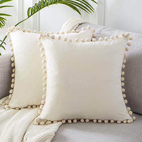 Topfinel Exterior Velvet Cushions 2 Cushion Covers Decoration with Trim 45x45 cm, Pillow for Sofas, Beds, chairs Beige