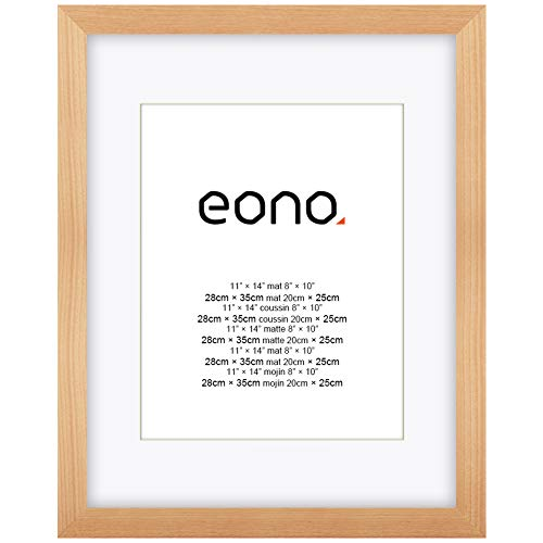 Eono by Amazon - Solid Wood and HD Glass Photo Frame for Wall 20x25 cm photos with mat and 28x35 cm without mat Natural