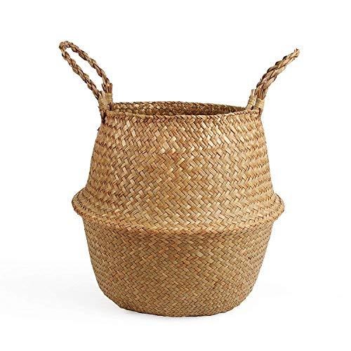BlueMake Folding Wicker Basket for Indoor Handmade Storage for Plants Laundry Hamper (Large, Original)