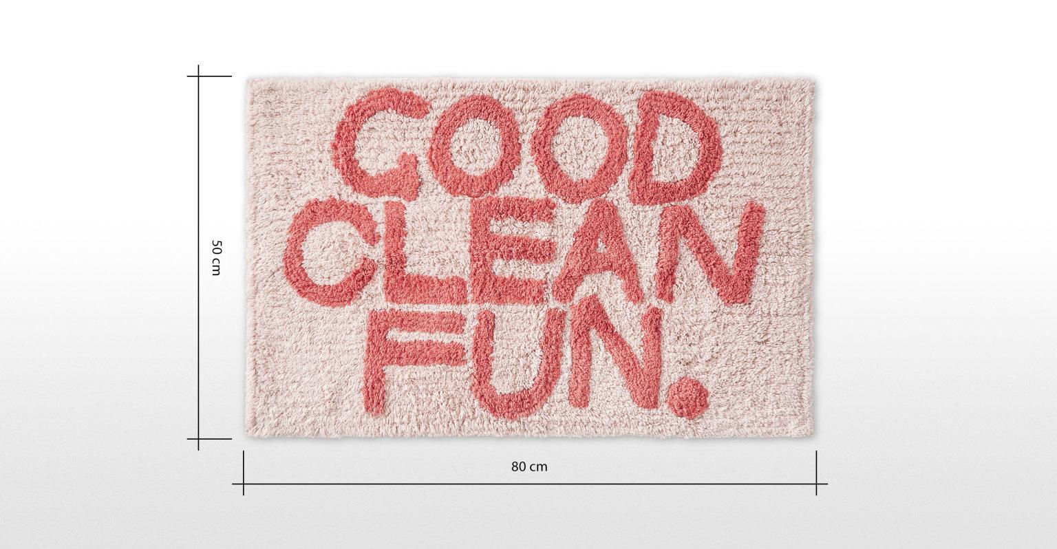 Good Clean Fun. 100% cotton Good Clean Fun bath mat, pink