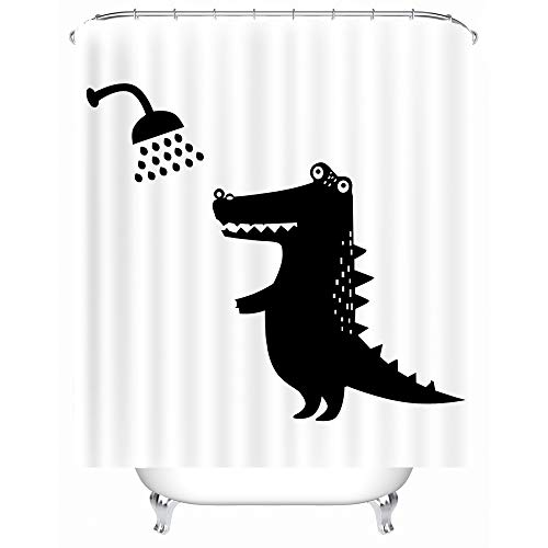 X-Labor Funny Animal Shower Curtain 240 x 200cm Waterproof Mold Resistant Polyester Fabric Bathtub Woven Polyester Crocodile 240 * 200cm (BxH)