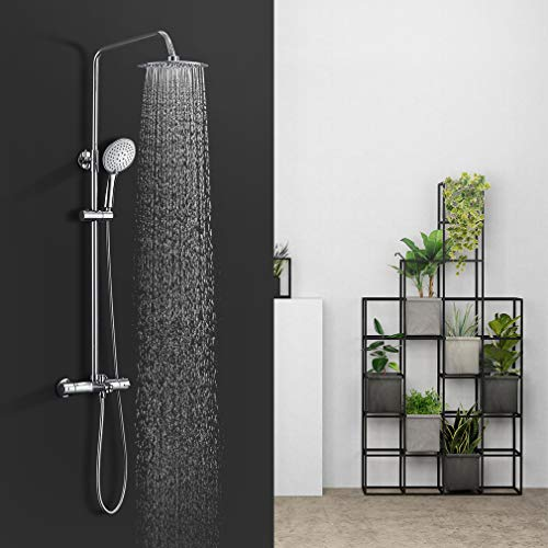 BONADE Thermostatic Shower Column with Faucet Round Shower Set for Bathtub with 3 Functions Hand Shower and Height Adjustable Bar (83-113 cm)