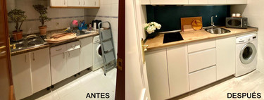 Before and after;  a small kitchen with a lot of style thanks to the renovation of Decoryver
