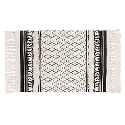 SHACOS Washable Cotton Rug Hand Woven Carpet Black Vintage Carpet for Salon, Kitchen, Living Room, Decoration