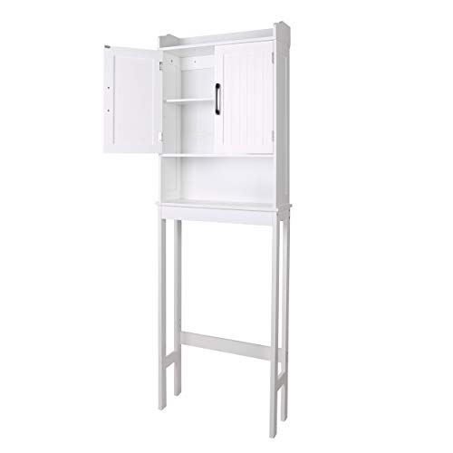 YOUKE Freestanding bathroom cabinets, Tall cabinets with 2 Doors, Multifunctional Bathroom Column Cabinet with Shelf, Modern Style White Wood Floor cabinet 57 x 19 x 170 cm