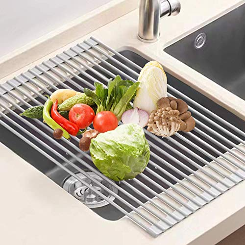 U-Taste Dish Drainer Stainless Steel, 52x33 CM Roll Up Dish Drainer Dish Drainer Multipurpose Sink Drainer Kitchen Dish Drainer-Gray