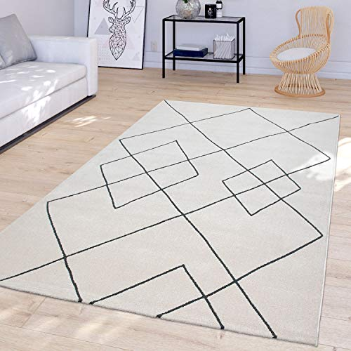 TT Home Living room Modern rug with diamond pattern Skandi short pile resistant, white, 160 x 230 cm